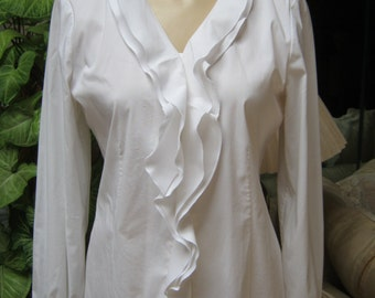 Vintage cotton blend white ruffle blouse, size Small white ruffled cotton shirt, Adrienne Vittadini soft white cotton blouse Small