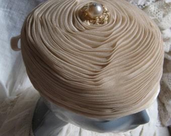 Vintage soft pleated antiqued nylon dressy hat, bride's wrapped nylon dusty light taupe soft pillbox hat, retro Jackie O small soft pillbox