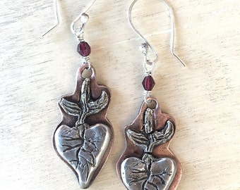 Handmade Sacred Heart Milagro earrings