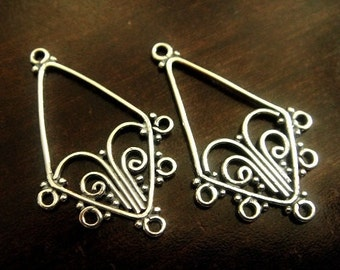 Bali Sterling Filigree Chandelier, 925 Sterling Silver, Oxidized Earrings, 31x17x1mm, 1 pair