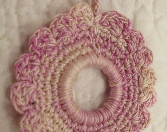 Vintage hand tatted crocheted shade pull variegated purples