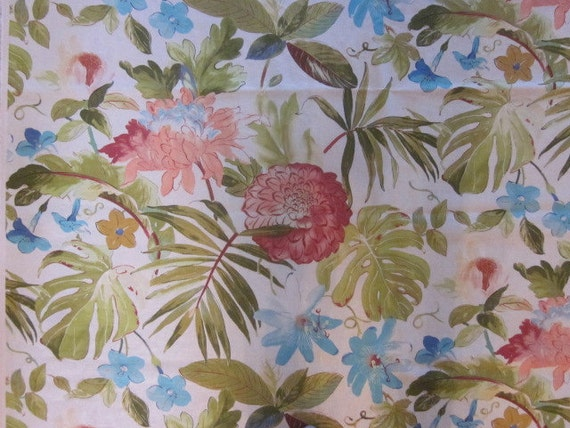 Home Decor Fabric Beautiful Tropical Screen Printed Foral