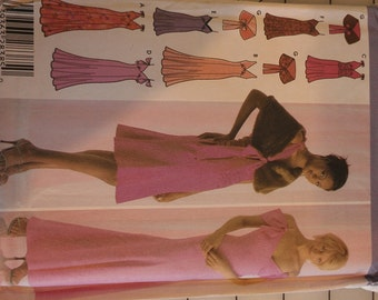 Slip Style Empire dress with flare skirt Shirred waist and Hem Length option Capelet 6 8 10 Simplicity 4875