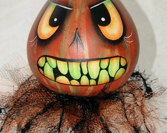 Evil Gourd Head Figure,Hand Painted Halloween, Haunted Swamp Holiday Home Decor Gourd Doll Figure