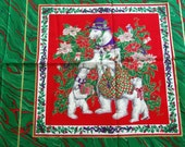 Polar Bear ~ Christmas Pillow Fabric Panel ~ Red, Green, w/ Metallic Accents