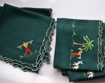 6 Cloth Napkins Vintage Tropical Souvenir Embroidered Napkins
