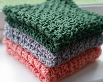 Crochet Dishcloth/Washcloth ~ Set of 3 ~ Pick you color