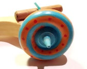 Spinning Top with Launcher baby blue/ orange with red dots