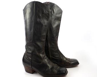 Campus Boots Leather Vintage 1970s Stacked Heel Dark Brown Leather Zip Up