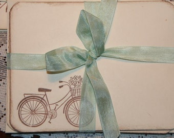 Bicycle Note Cards with Envelopes, Set of 8 Gift Wrapped, Hand Stamped with Vintage Bicycle, Unique Christmas Gift