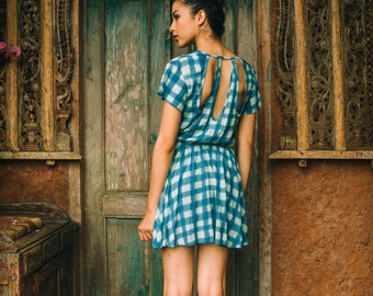 Not mass produced-- Unique Balinese handprint Batik gingham above the knee country style dress small/medium/large
