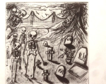 Animated Skeleton day of the dead intaglio print