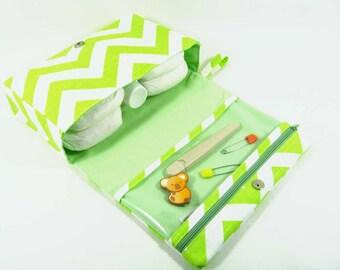 Lime green diaper clutch, chevron slub cotton diaper purse, diaper bag organizer with clear zipper pouch, baby bag, nappy bag