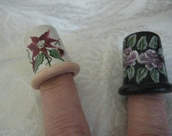 Pair of THIMBLES HANDPAINTED by ARDIS