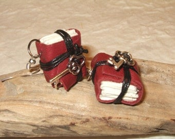 Mini leather books earrings
