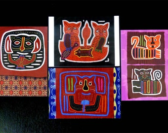 Vintage Kuna Molas Cats Ethnic Tribal Folk Art Cards | Cat Post Cards | Boho Textile Arts | Gifts Under 10 | Stationery Gift Set of 8