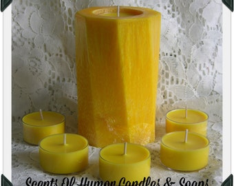 Yellow Palm Wax Pillar Candle Changeable Set & Soy Tea Lights * Lemon Verbena Scent * Unique Candle * Handmade * Reusable Forever Candle