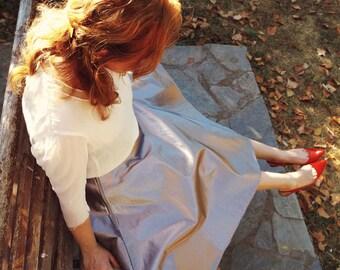 Silver Circle Skirt, Tea Length 50s Metallic Full Skirt