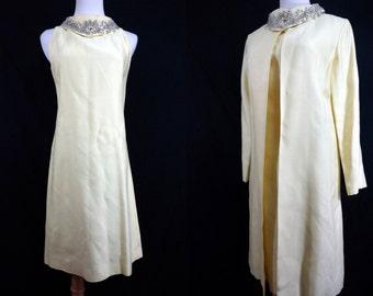 1960s Yellow Beaded Shift Dress Jacket Two Piece Set Medium Evening Dress Cowl Neck