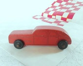 vintage wooden car, red car, toy car, hand made car, vintage toy, home decor, collectible