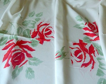 vintage tablecloth, roses red and pink, 1950s Hardy Craft Original, table linens, rectangular tablecloth