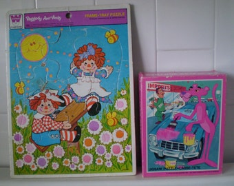Set Of Two Vintage PINK PANTHER And Rageddy Ann And Andy Jigsaw Puzzles