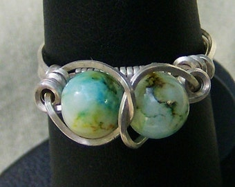 Vintage Bead Ring - Handmade Wire Wrapped in .925 Sterling Silver, Teal, Green & White, Size 7  by JewelryArtistry - R290