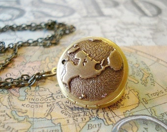 World Locket Necklace Vintage Locket Necklace Travel Locket Brass Globe Map Locket Earth Round Locket Globe Map Long Brass Chain Jewelry