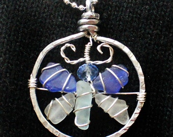 Sea Glass Pendant, Sea Glass Butterfly Pendant in Colors of the Sea