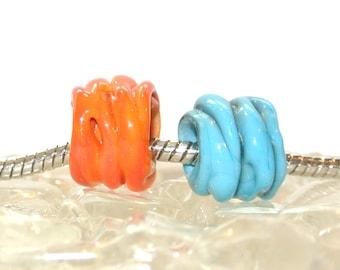 """Turquoise and Orange """"Arizona Sunset"""" Nugget Fits all Big Hole Bead Bracelets"""