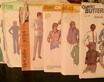 1968 to 1976 Mens Vintage Sewing Patterns Six Patterns Total