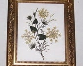 Real pressed botanicals in traditional gold frame 8x10