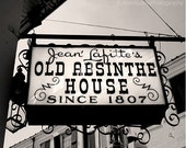 Old Absinthe House, New Orleans Photography,  Bar Sign Photograph, Mardi Gras French Quarter, black and white modern chic minimalist