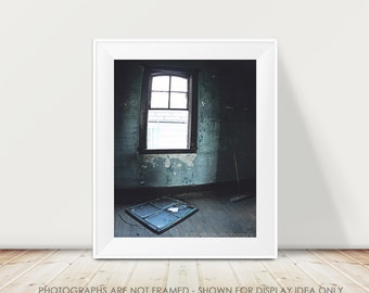 Urban Window Photography, Dark Blue Teal Decor, Rustic Decay Broken Window Abandoned, Architecture Photo, Moody, Halloween Art, Halloween