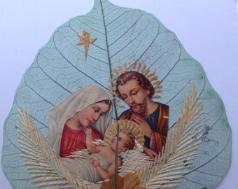 NATIVITY scene. Hand-crafted on real Leaf Unique art collectible, affordable keepsake art. Christmas gift for MOM