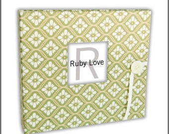 BABY BOOK | Vintage Green Mosaic Baby Book - Baby Memory Book