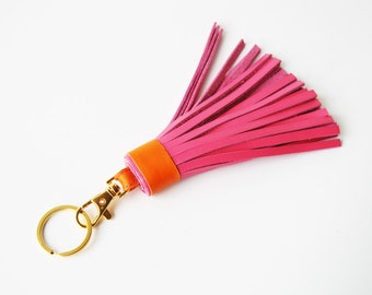 Pink Leather Tassel with Lobster Clasp and Split ring Bag Charm