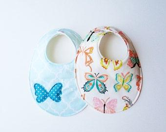 Set of 2 baby girl butterfly bibs
