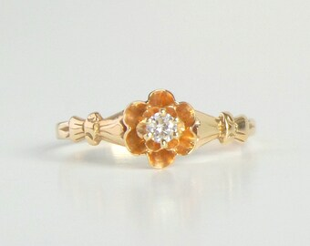 Antique Diamond Engagement Ring. Victorian Double Buttercup Setting. 14k Gold.