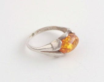 Sterling Baltic Amber Ring. Vintage Art Nouveau Revival.