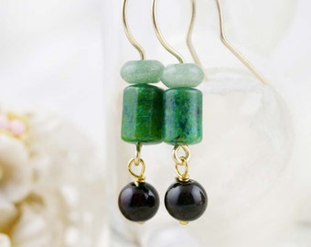 Clarity and peace earrings - aventurine, chrysocolla and jade