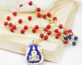 Sakyamuni Thursday Buddha amulet necklace - jade and lapis (BA)