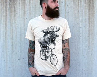 Moose on a bicycle - Mens T Shirt, Unisex Tee, Cotton Tee, Handmade graphic tee, Bicycle shirt, Bike Tee, sizes xs-xxl
