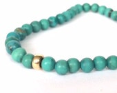 Green And Blue Turquoise Gold Beads Stretch Bracelet