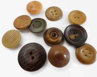Antique Vegetable Ivory Buttons - Early 1900s Vintage Tagua Nut for Jewelry Beads Sewing Knitting