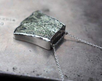 "before you go…Pyrite ""fan"" in sterling silver necklace"