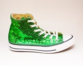 Sequin Kelly Green Canvas Converse Canvas Hi Top Sneakers Shoes