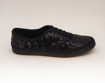 Sequin CVO Seaweed Tiny Sequins Black on Black Sneaker Tennis Shoes