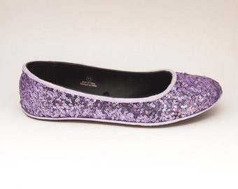 Sequin | Lavender Purple Slipper Ballet Flats Custom Shoes