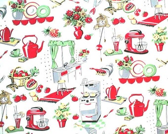 Fifties Kitchen 100% Cotton Fabric By Michael Miller Vintage Look, Adorable By The Yard